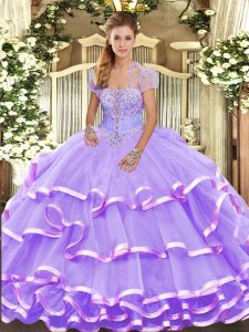 Lavender Lace Up Quinceanera Gown Beading and Ruffled Layers Sleeveless Floor Length