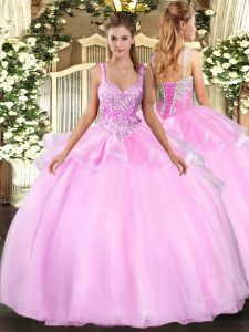 Pink Organza Lace Up 15 Quinceanera Dress Sleeveless Floor Length Beading