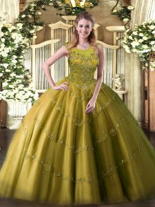 Eye-catching Olive Green 15 Quinceanera Dress Military Ball and Sweet 16 and Quinceanera with Appliques Scoop Sleeveless Zipper