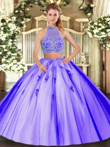 Elegant Tulle Sleeveless Floor Length Quinceanera Gowns and Beading