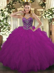 Fuchsia Lace Up Ball Gown Prom Dress Beading and Ruffled Layers Sleeveless Floor Length