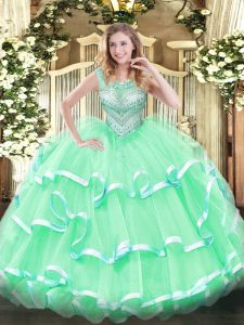 Scoop Sleeveless Vestidos de Quinceanera Floor Length Beading and Ruffles Apple Green Tulle