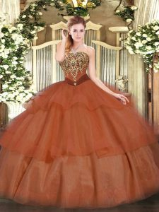 Suitable Strapless Sleeveless Tulle Sweet 16 Dresses Beading and Ruffled Layers Lace Up
