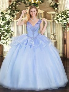 Glamorous Lavender Ball Gowns V-neck Sleeveless Tulle Floor Length Lace Up Beading Quinceanera Dress