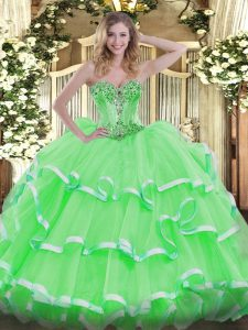 Dramatic Sweetheart Sleeveless Lace Up 15th Birthday Dress Organza