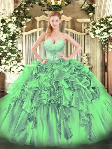 Flirting Lace Up Sweetheart Beading and Ruffles Quinceanera Dresses Organza Sleeveless