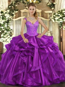 Purple Ball Gowns Straps Sleeveless Organza Floor Length Lace Up Beading and Ruffles Sweet 16 Dress