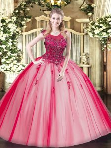 Spectacular Ball Gowns Vestidos de Quinceanera Red Scoop Tulle Sleeveless Floor Length Zipper