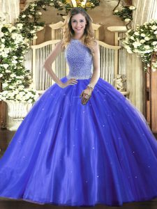 New Arrival Blue Ball Gowns High-neck Sleeveless Tulle Floor Length Lace Up Beading Ball Gown Prom Dress