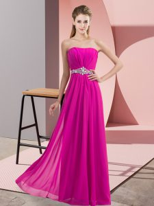 Wonderful Floor Length Fuchsia Dress for Prom Strapless Sleeveless Lace Up
