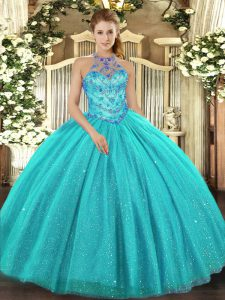 Best Selling Aqua Blue Sleeveless Beading and Embroidery Floor Length Sweet 16 Dress