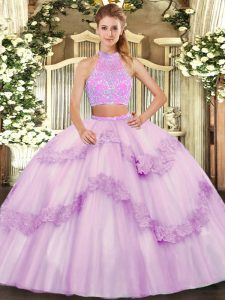 Inexpensive Lilac Tulle Criss Cross Quince Ball Gowns Sleeveless Floor Length Beading and Appliques and Ruffles