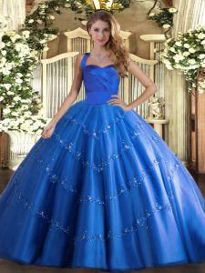 Fancy Floor Length Lace Up Sweet 16 Dress Blue for Military Ball and Sweet 16 and Quinceanera with Appliques
