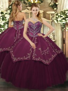 Burgundy Ball Gowns Beading and Pattern Vestidos de Quinceanera Lace Up Taffeta and Tulle Sleeveless Floor Length