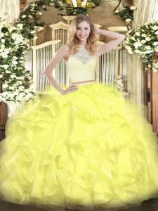 Simple Yellow Sleeveless Floor Length Lace and Ruffles Zipper Quinceanera Dress