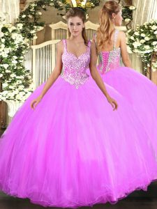 Lilac Sleeveless Tulle Lace Up Sweet 16 Dresses for Military Ball and Sweet 16 and Quinceanera