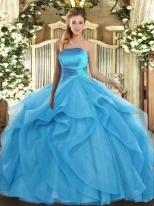 Baby Blue Strapless Lace Up Ruffles Ball Gown Prom Dress Sleeveless
