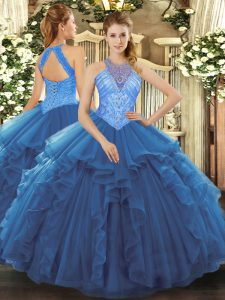 Lovely Floor Length Lace Up Quinceanera Dresses Blue for Military Ball and Sweet 16 and Quinceanera with Beading and Ruffles