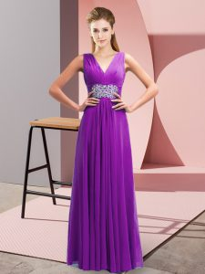 Affordable Purple Empire V-neck Sleeveless Chiffon Floor Length Side Zipper Beading and Ruching Prom Dress