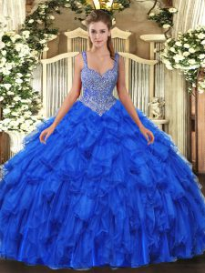 Royal Blue Straps Lace Up Beading and Ruffles Quinceanera Dresses Sleeveless