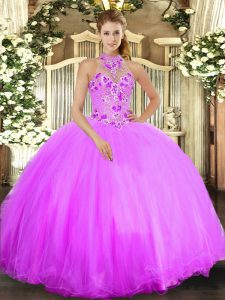 Lilac Lace Up Quinceanera Dresses Beading and Embroidery Sleeveless Floor Length