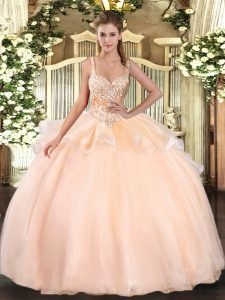Chic Floor Length Peach Quinceanera Dresses Organza Sleeveless Beading