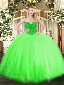 Superior Sleeveless Floor Length Beading Lace Up 15th Birthday Dress with