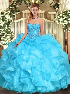 Extravagant Sleeveless Lace Up Floor Length Beading and Ruffles Vestidos de Quinceanera
