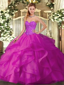 Superior Fuchsia Sweetheart Lace Up Beading and Ruffles Sweet 16 Dress Sleeveless