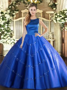 Floor Length Blue Ball Gown Prom Dress Tulle Sleeveless Appliques