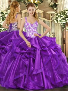 Eggplant Purple Ball Gowns Straps Sleeveless Organza Floor Length Lace Up Beading and Appliques and Ruffles Sweet 16 Dress