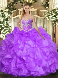 Sweetheart Sleeveless Lace Up Quinceanera Gown Lavender Organza
