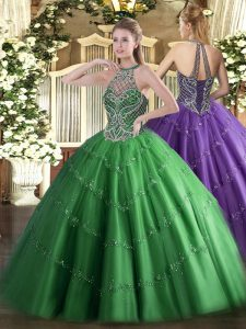 Trendy Sleeveless Beading Lace Up 15 Quinceanera Dress