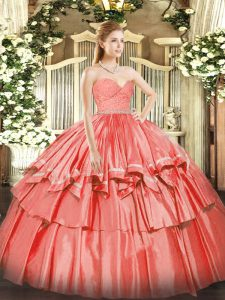 Sleeveless Organza Floor Length Zipper Quinceanera Dress in Watermelon Red with Beading and Lace and Ruffled Layers