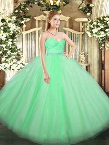 Sweetheart Sleeveless Zipper Ball Gown Prom Dress Apple Green Tulle