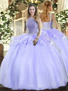 Exceptional Lavender Ball Gowns Square Sleeveless Organza Floor Length Lace Up Beading Quinceanera Dresses