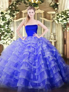 Blue Zipper Strapless Ruffled Layers Sweet 16 Quinceanera Dress Tulle Sleeveless