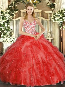 Super Coral Red Straps Lace Up Beading and Ruffles Vestidos de Quinceanera Sleeveless