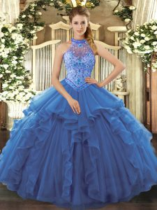 Blue Quinceanera Gown Sweet 16 and Quinceanera with Beading and Embroidery and Ruffles Halter Top Sleeveless Lace Up