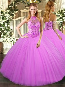 Stylish Sleeveless Lace Up Floor Length Beading and Embroidery Quinceanera Gown