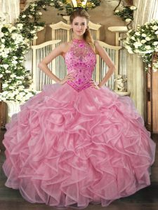 Exquisite Halter Top Sleeveless Quinceanera Dress Floor Length Embroidery and Ruffles Baby Pink Organza