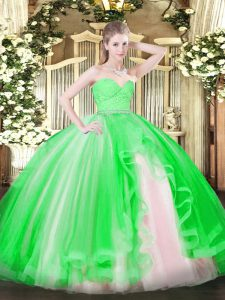 Ball Gowns Sweet 16 Dress Green Sweetheart Tulle Sleeveless Floor Length Zipper