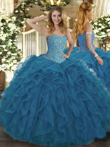 Clearance Sleeveless Tulle Floor Length Lace Up Ball Gown Prom Dress in Teal with Beading and Ruffles