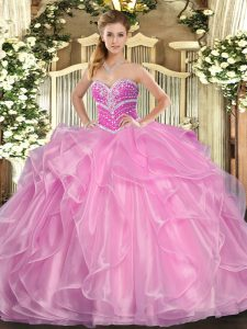 Lovely Sleeveless Floor Length Beading and Ruffles Lace Up Sweet 16 Dress with Lilac