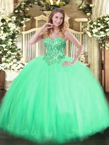 Decent Ball Gowns Vestidos de Quinceanera Apple Green Sweetheart Tulle Sleeveless Floor Length Lace Up
