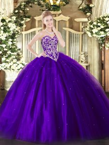 Sweetheart Sleeveless Quinceanera Dress Floor Length Beading Purple Tulle