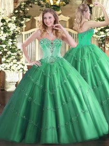 Floor Length Lace Up Sweet 16 Quinceanera Dress Turquoise for Sweet 16 and Quinceanera with Beading and Appliques