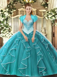 Latest Floor Length Teal Quinceanera Dress Tulle Sleeveless Beading