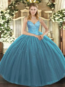 Chic Teal Ball Gowns Tulle V-neck Sleeveless Beading Floor Length Lace Up Quince Ball Gowns