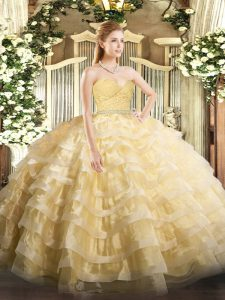 Clearance Gold Zipper Vestidos de Quinceanera Beading and Lace and Ruffled Layers Sleeveless Floor Length